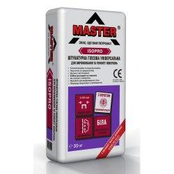 MASTER ISOPRO Штукатурка гіпсова універсальна для вирівнювання та ремонту поверхонь, біла, 30 кг